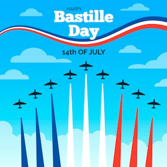 Hand drawn bastille day