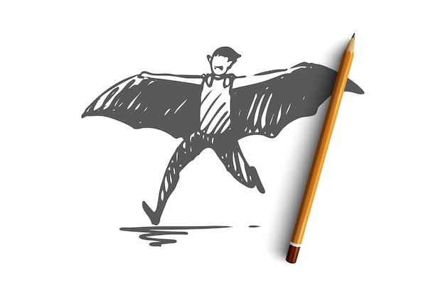 할로윈 개념 스케치에 손으로 그린 박쥐 캐릭터