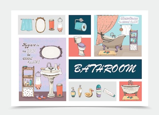 Нарисованная рукой композиция элементов ванной комнаты