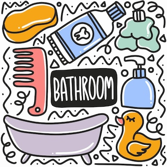 Hand drawn bathroom equipment doodle set with icons and design elements