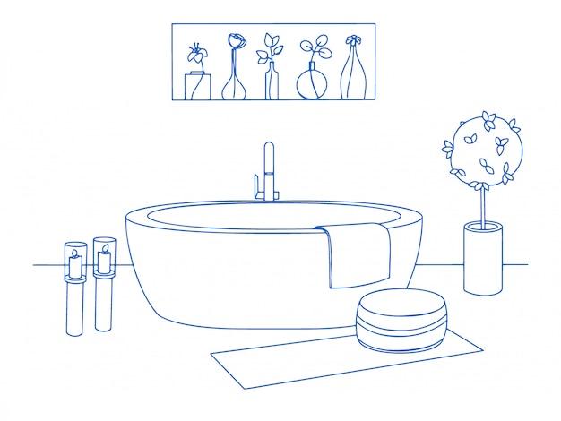 手描きのバスルームのインテリア。バスタブやその他のバスルームアイテムをスケッチします。図