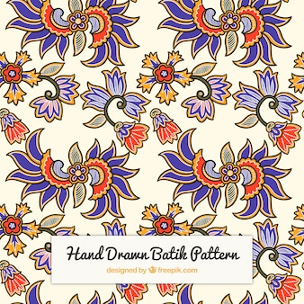 Hand drawn batik flower pattern
