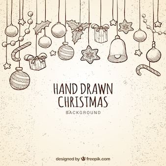Hand drawn baubles background