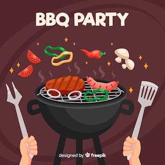 Hand drawn bbq background