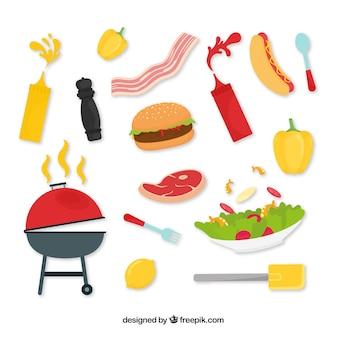 Collezione di elementi di barbecue disegnati a mano