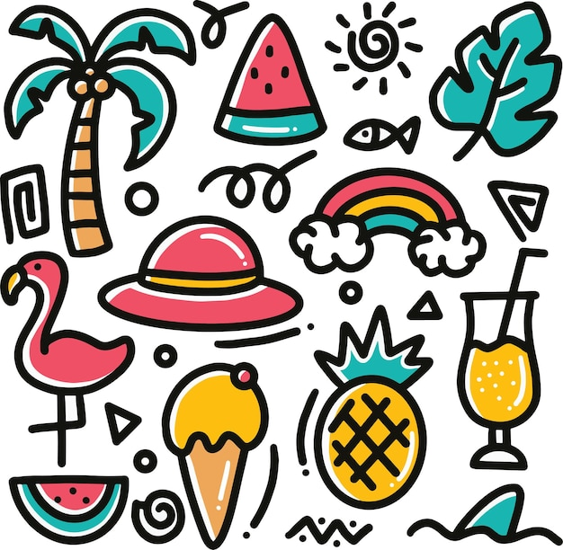 Hand drawn beach doodle set with icons and design elements