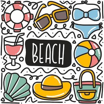 アイコンとデザイン要素で設定された手描きのビーチ休暇落書き