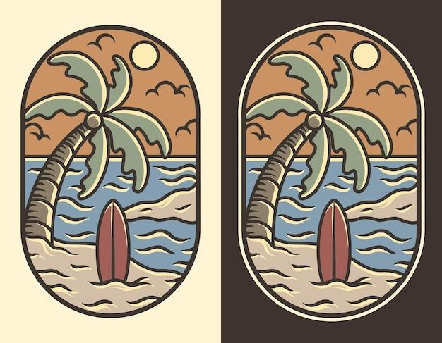 Рисованной пляж винтаж лето