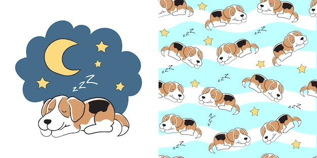 Hand drawn beagle seamless pattern