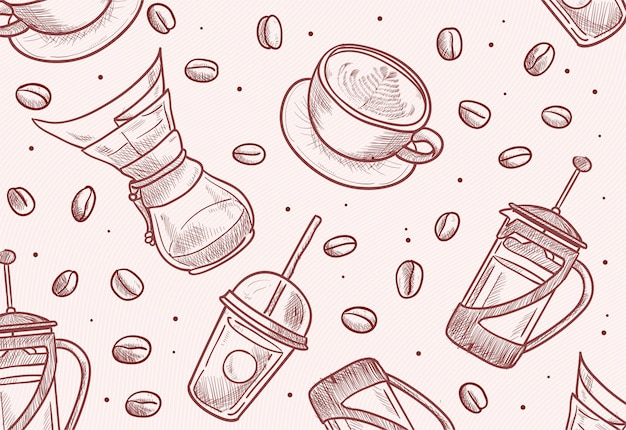Hand drawn beans, cup, french press, chemex, dripper, take away cup illustration