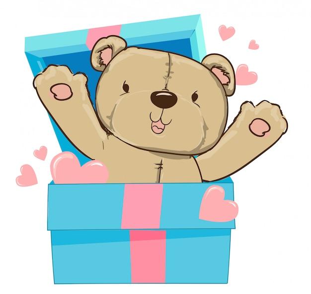 Hand drawn bear and heart, gift box, vector illustration.