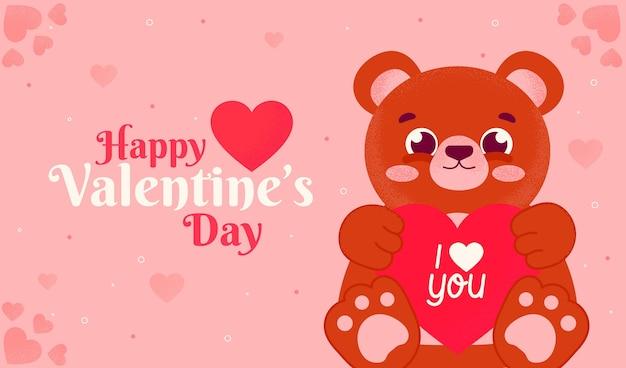 Hand drawn bear valentine's day background