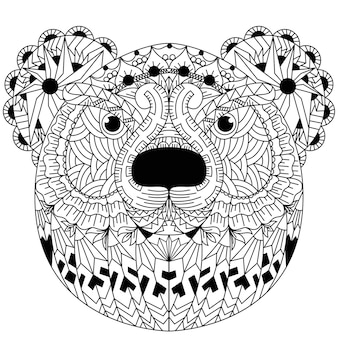 Hand drawn of bear in zentangle style