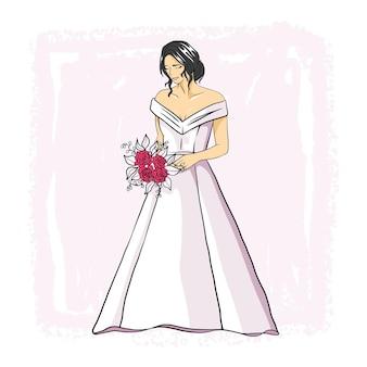 白いウェディングドレスで手描きの美しい花嫁