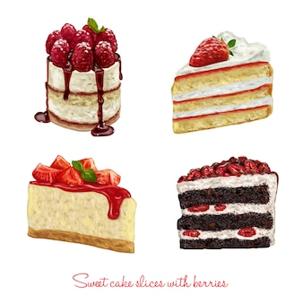 Hand drawn beautiful cake slices