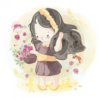 Hand drawn beautiful, cute, little girl.