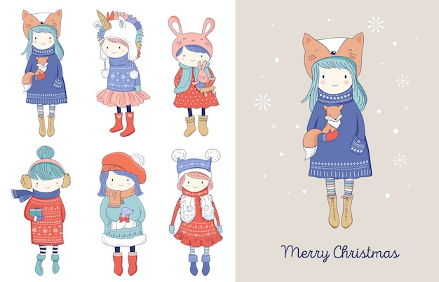 Hand drawn beautiful cute little winter girls collection. merry christmas greeting cards