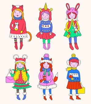 Hand drawn beautiful cute little winter girls set. merry christmas
