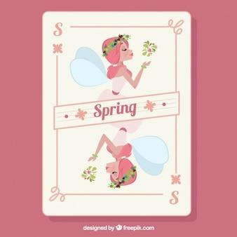 Hand drawn beautiful fairy spring card
