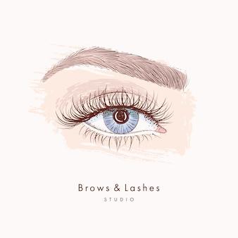 長い黒いまつげと眉と手描きの美しい女性の目