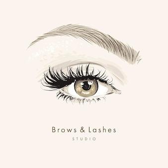 長い黒まつげと眉と手描きの美しい女性の目