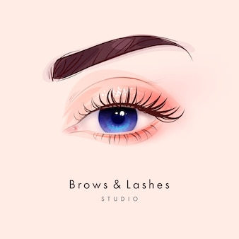 Hand drawn beautiful female eye with long black eyelashes and brows