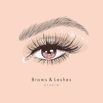 Hand drawn beautiful female eye with long black eyelashes and brows Premium Vector