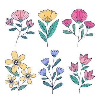 手描きの美しい花のコレクション
