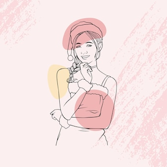 라인 아트 스타일의 크리스마스 복장으로 손으로 그린 아름다운 소녀