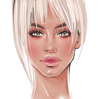 Hand drawn beautiful girl portrait. stylish elegant blonde.