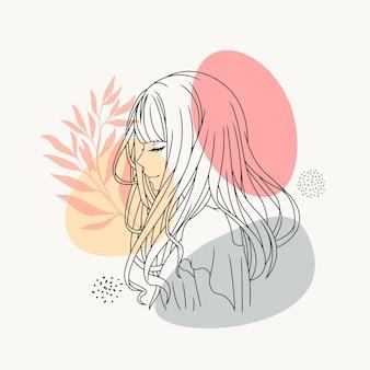 라인 아트 스타일을 사용하여 손으로 그린 아름 다운 소녀