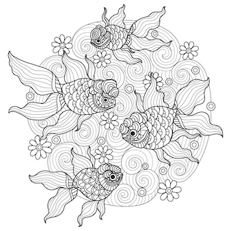 Hand drawn beautiful goldfish