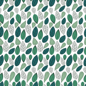 Hand drawn beautiful leaf seamless pattern