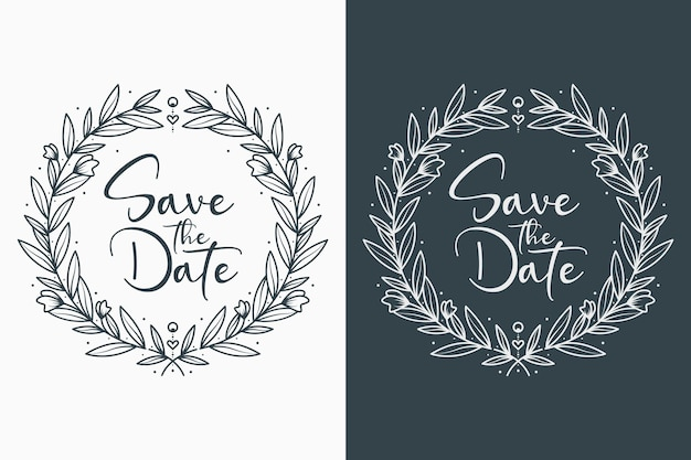 Hand drawn beautiful and lovely wedding badges