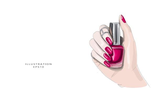 Hand drawn beautiful manicure sketch. stylish glamorous girly print.