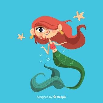 Hand drawn beautiful mermaid background