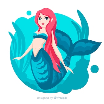 Hand drawn beautiful mermaid background