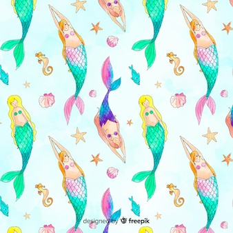 Hand drawn beautiful mermaid pattern