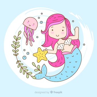 Hand drawn beautiful mermaid portrait
