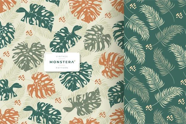 手描きの美しいモンステラの葉のシームレスなパターン