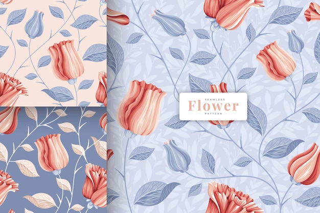 Hand drawn beautiful pastel colour floral pattern collection
