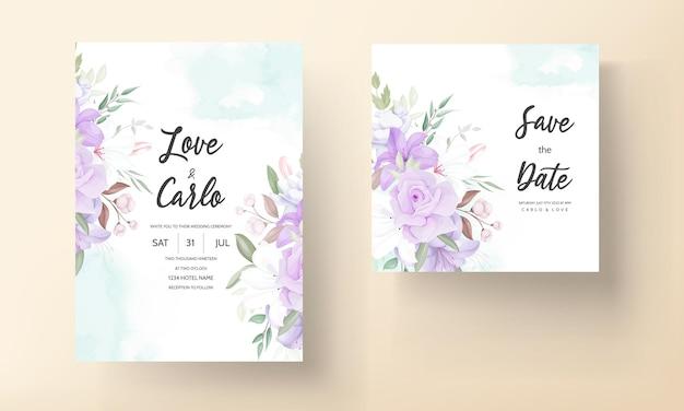 Ручной обращается красивый фиолетовый цветочный шаблон свадебного приглашения