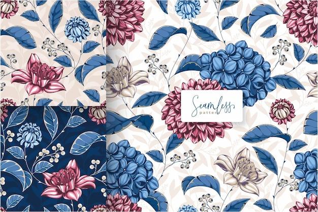 手描きの美しい赤と青の花柄 Premiumベクター