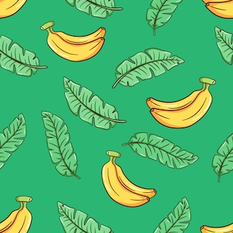 Hand drawn beautiful seamless vector floral summer pattern with banana leaves and bananas
