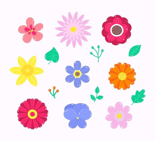 Bella collezione di fiori primaverili disegnata a mano