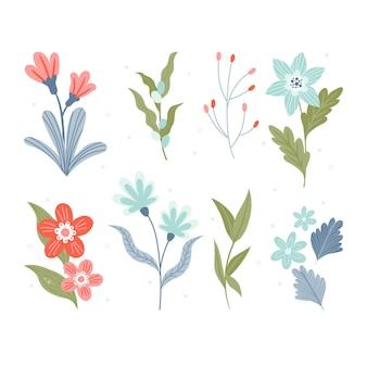손으로 그린 아름 다운 봄 꽃 모음