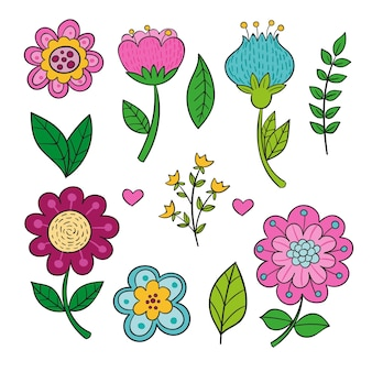 Pacchetto di fiori di primavera bella disegnata a mano