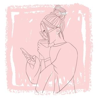 Нарисованная рукой красивая женщина пьет кофе, держа линию мобильного телефона в стиле арт