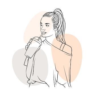 라인 아트 스타일로 커피를 마시는 손으로 그린 아름다운 여자