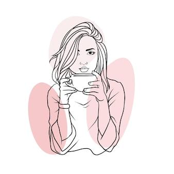 라인 아트 스타일 b에서 커피를 마시는 손으로 그린 아름다운 여자